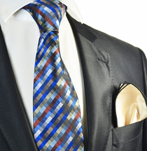 Royal Blue Checked Tie with Contrast Rolled Pocket Square