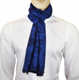 Royal Blue Paisley Men's Scarf by Paul Malone