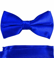Royal Blue Paul Malone Bow Tie and Pocket Square . 100% Silk (BT349H)