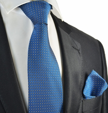 Royal Blue Polka Dot Tie and Pocket Square Set