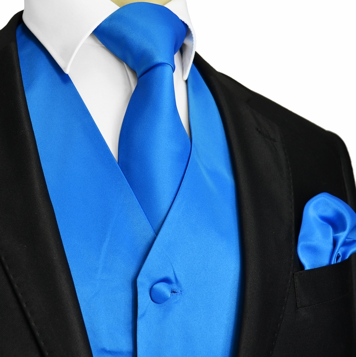 Royal Blue Tuxedo Vest and Accessories (Q10-M)