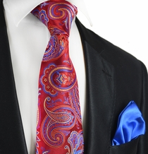 Rumba Red Paisley 7-fold Silk Tie and Pocket Square by Paul Malone
