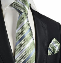 Sage Green Striped Necktie and Pocket Square