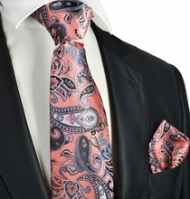Salmon and Black Paisley Tie and Pocket Square