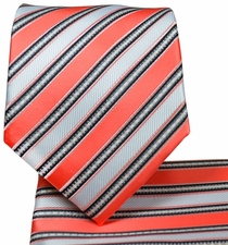 Salmon Striped Necktie and Pocket Square