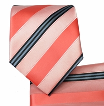 Salmon Striped Necktie and Pocket Square Set (Q506-J)