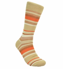 Sand and Orange Striped Cotton Socks by Paul Malone