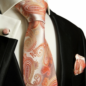 Silk Necktie Set by Paul Malone . Coral Paisley