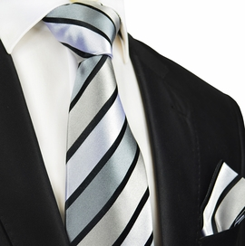 Silver and Black Silk Tie and Pocket Square by Paul Malone