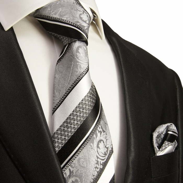 silver and black silk tie set paul malone