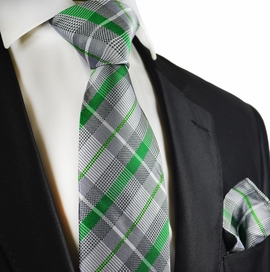 Silver and Green Silk Tie and Pocket Square by Paul Malone