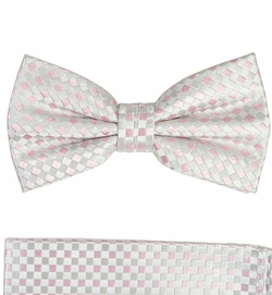 Silver and Pink Bow Tie and Pocket Square Set by Paul Malone (BT472H)