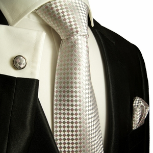 Silver and Pink Paul Malone Silk Tie Set (472CH)