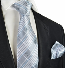 Silver Blue Men's Tie and Pocket Square
