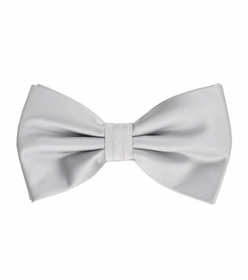 Silver Bow Tie and Pocket Square Set (BT100-E)