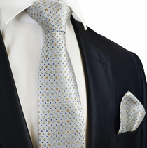 Silver Cloud Polka Dotted Silk Tie Set by Paul Malone