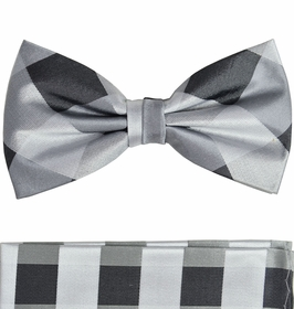 Silver Gray Silk Bow Tie and Pocket Square Set