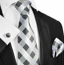 Silver Grey Silk Tie Set by Paul Malone