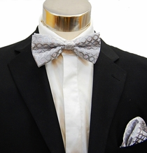 Silver Men's Bow Tie and Pocket Square Set (BH944)