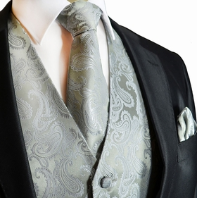 Silver Paisley Tuxedo Vest Set with Tie and Pocket Square