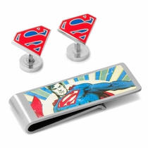 Silver Superman Cufflinks and Money Clip Gift Set