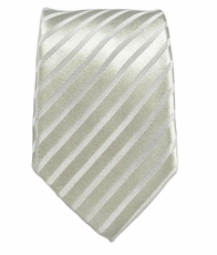 Silver-White Slim Silk Tie by Paul Malone