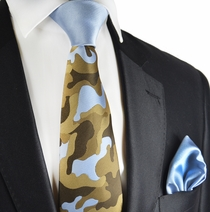 Sky Blue and Bronze Contast Knot Tie by Paul Malone