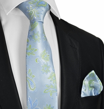 Sky Blue and Green Tie and Pocket Square Set