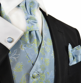 Sky Blue and Green Tuxedo Vest Set by Paul Malone