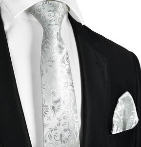 Slim White Wedding Tie and Pocket Square