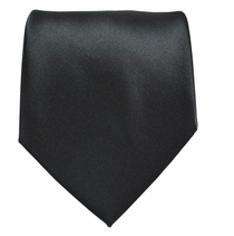 Solid Black Boys Zipper Tie