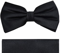 Solid Black Paul Malone Bow Tie and Pocket Square (BT952H)