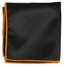 Solid Black Pocket Square with Orange Rolled Border
