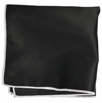Solid Black Pocket Square with White Border
