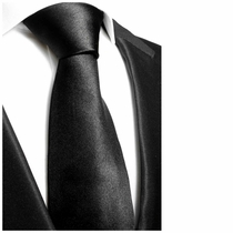 Solid Black Silk Tie by Paul Malone