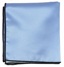 Solid Blue Pocket Square with Navy Border