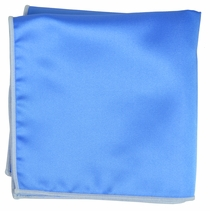 Solid Blue Pocket Square with White Border