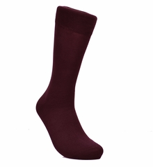 Solid Burgundy Cotton Dress Socks by Paul Malone