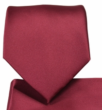 Solid Burgundy Necktie and Pocket Square (Q100-MM)