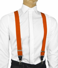 Solid Burnt Orange Men's Suspenders