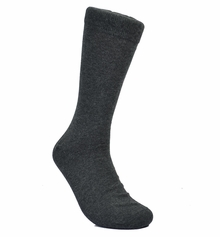 Solid Charcoal Cotton Dress Socks by Paul Malone