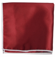 Solid Dark Red Pocket Square with White Rolled Border