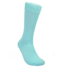 Solid Deep Aqua Cotton Dress Socks by Paul Malone