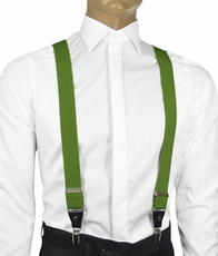 Solid Forest Green Men's Suspenders