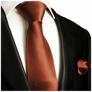 Solid Ginger Spice Tie and Pocket Square Set