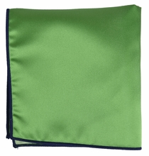 Solid Green Pocket Square with Navy Border