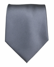 Solid Grey Boys Zipper Tie