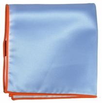 Solid Light Blue Pocket Square with Orange Rolled Border