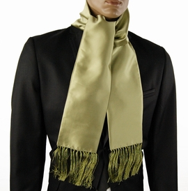 Solid Lite Green Men's Scarf, Satin Look (SC100-Q)