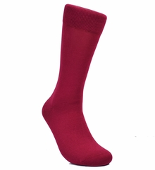 Solid Maroon Cotton Dress Socks by Paul Malone